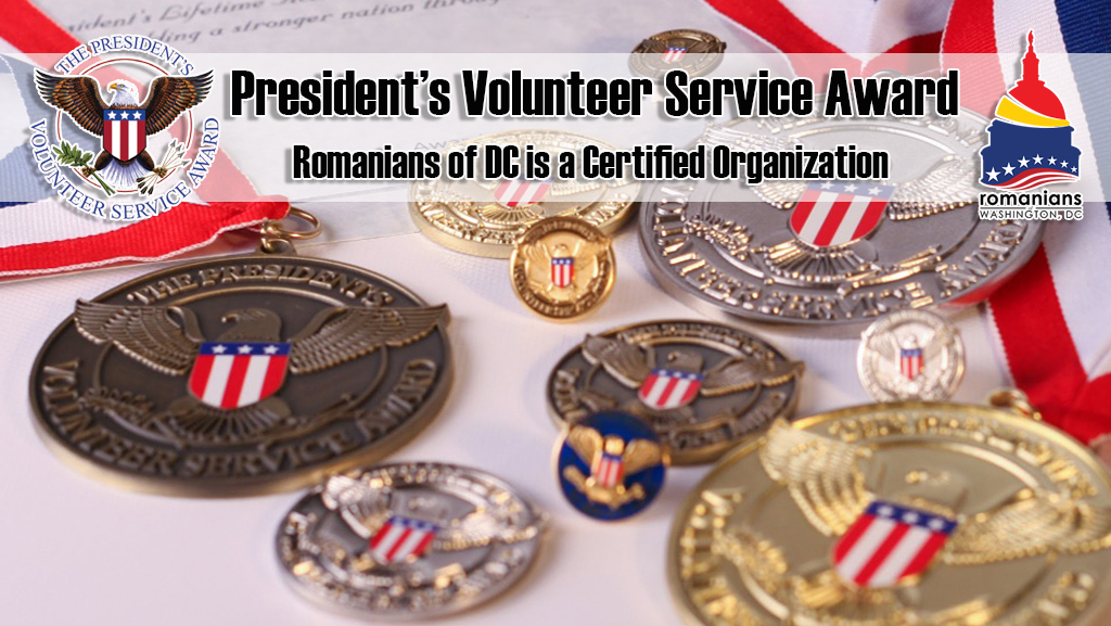Romanians of DC a Certified Organization to Present the President's Volunteer Service Award